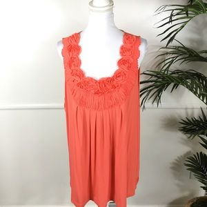Lane Bryant Orange Floral PleatedTank Womens 26/28